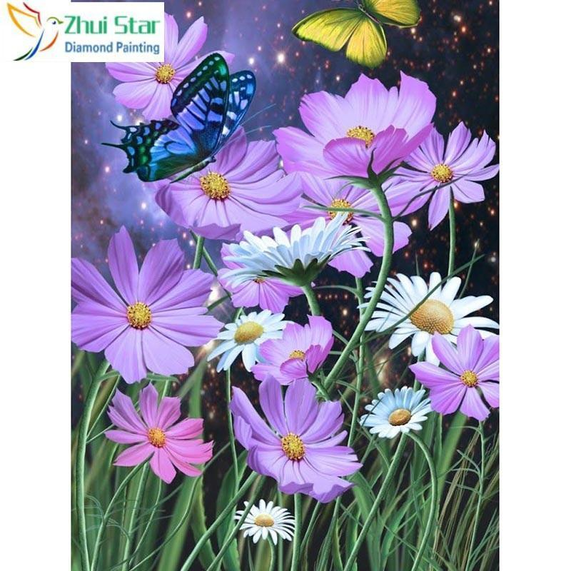 5D Diamond Painting Blue Butterfly and Purple Flowers Kit