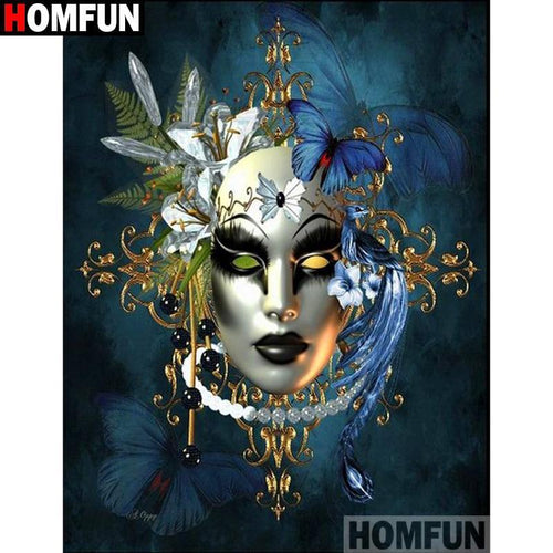 5D Diamond Painting Blue Butterfly Mask Kit