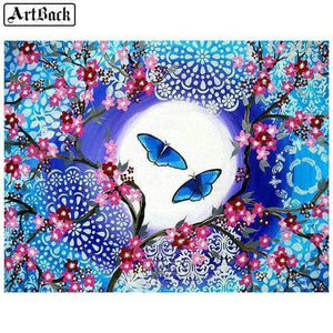 5D Diamond Painting Blue Butterfly Moon Kit