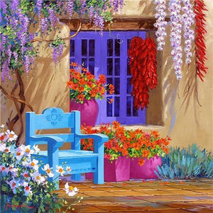 5D Diamond Painting Blue Chair and Rooster Kit