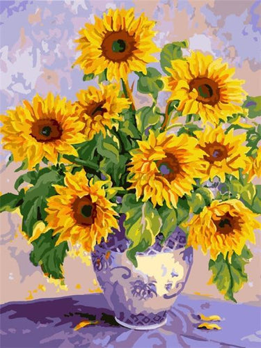 5D Diamond Painting Blue Delft Vase of Sunflowers Kit