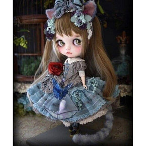 5D Diamond Painting Blue Dress Doll Girl Kit