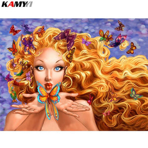 5D Diamond Painting Blue Eyed Butterfly Girl