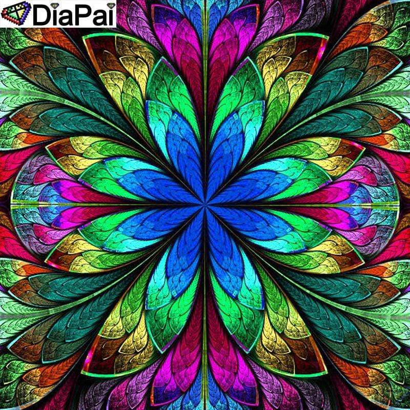 5D Diamond Painting Blue Flower Abstract Design Kit