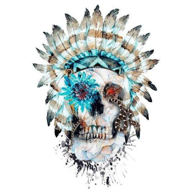 5D Diamond Painting Blue Flower Chief Skull Kit