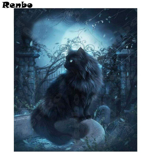 5D Diamond Painting Blue Glow Black Cat Kit