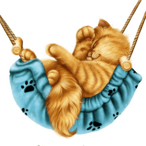 5D Diamond Painting Blue Hammock Cat Kit