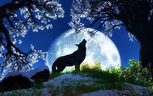 5D DIamond Painting Blue Howl at the Moon Wolf Kit