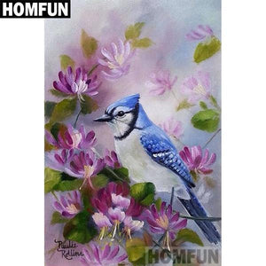 5D Diamond Painting Blue Jay in the Purple Flowers Kit
