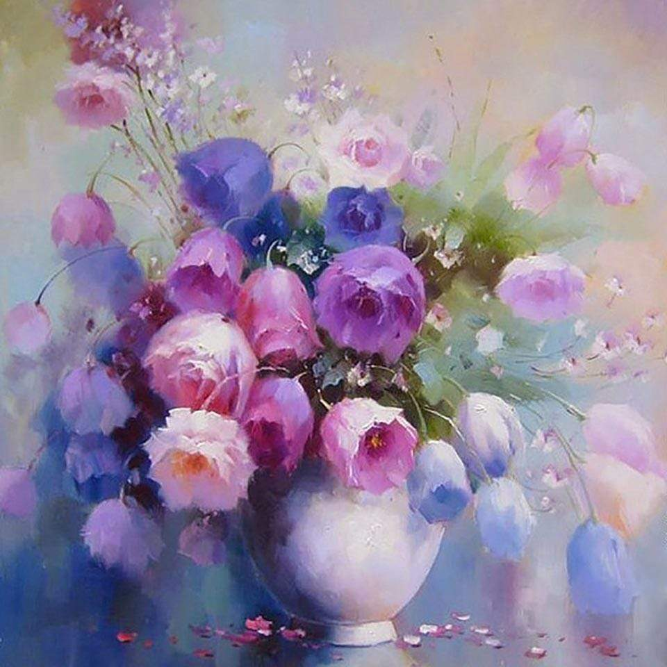 5D Diamond Painting Blue, Purple and Pink Tulip Bouquet Kit
