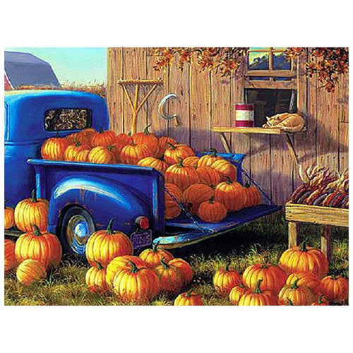 5D Diamond Painting Blue Truck of Pumpkins Kit
