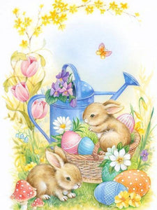 5D Diamond Painting Blue Watering Can and Easter Eggs Kit