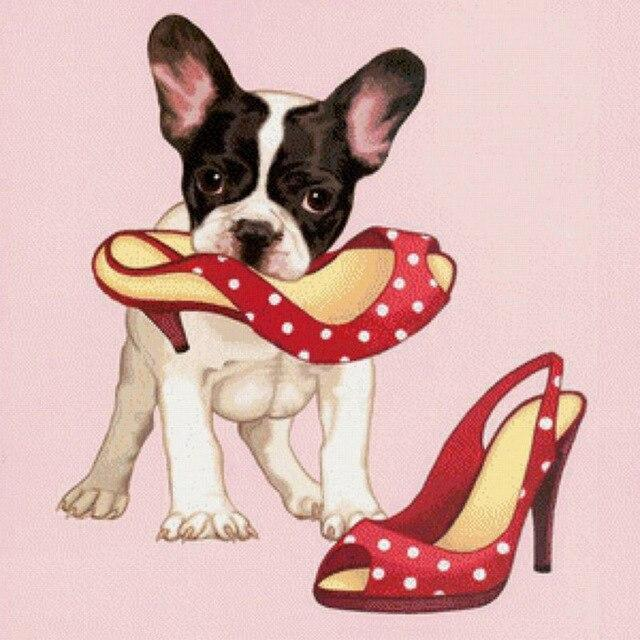5D Diamond Painting Boston Terrier Puppy and High Heels Kit