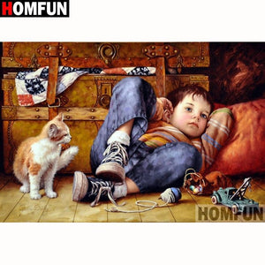 5D Diamond Painting Boy and a Cat Kit