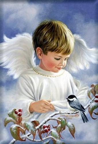 5D Diamond Painting Boy Angel and a Bird Kit