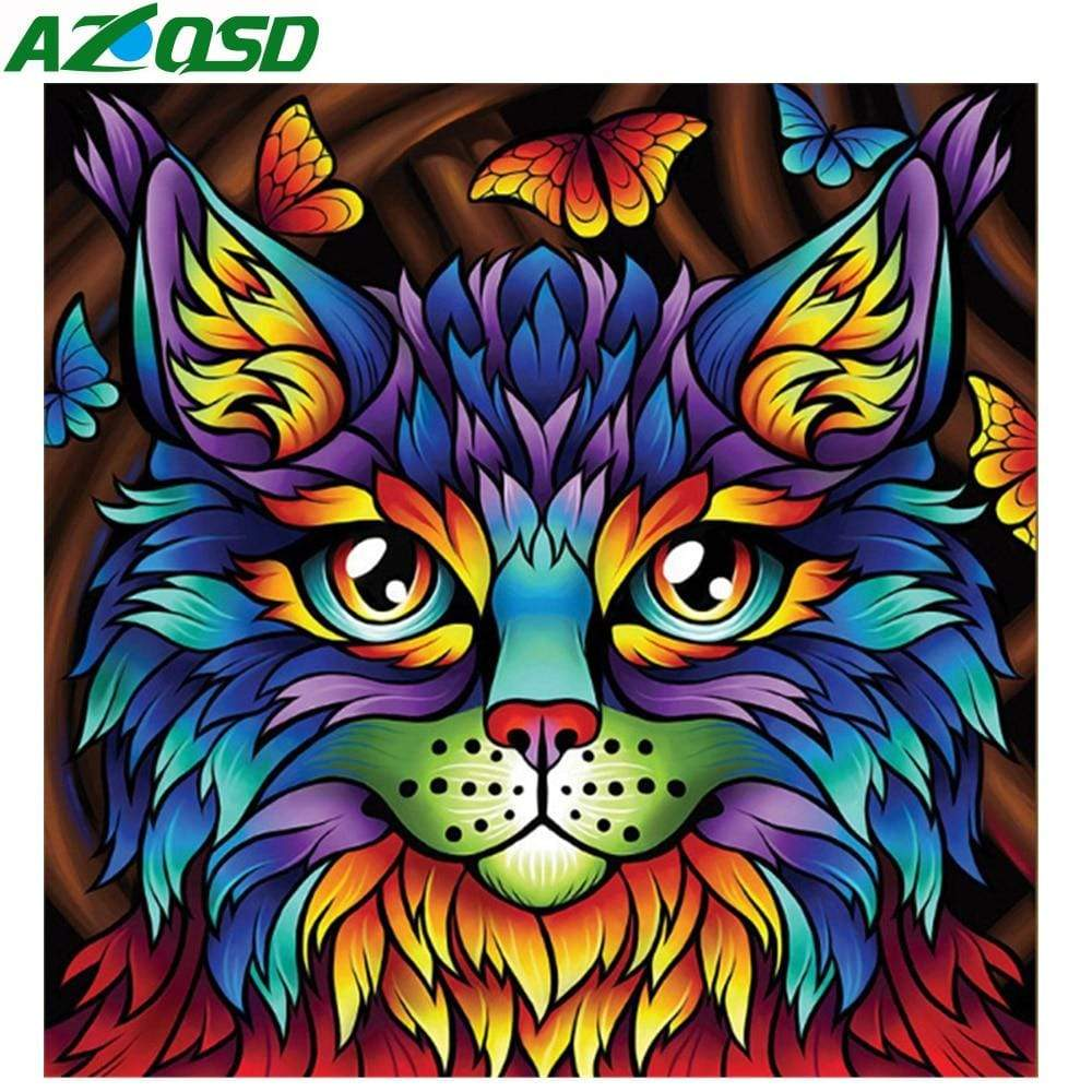 5D Diamond Painting Bright Abstract Cat Kit