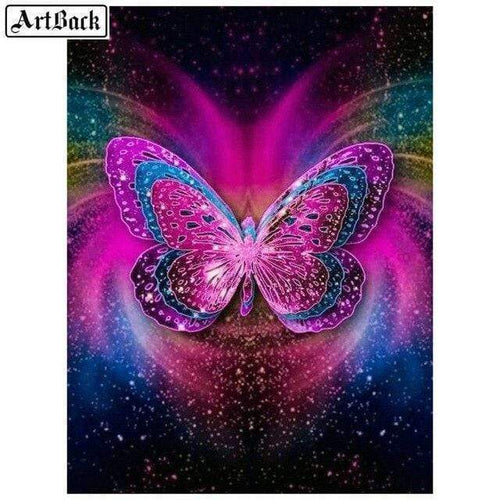 5D Diamond Painting Bright Pink and Blue Butterfly Kit
