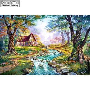 5D Diamond Painting Brook by the Cottage Kit
