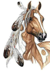 5D Diamond Painting Brown and White Feather Horse Kit