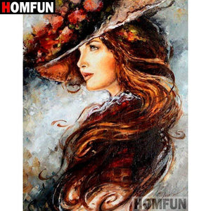 5D Diamond Painting Brunette Woman Flower Hat Kit