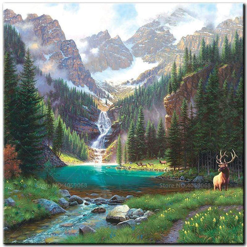 5D Diamond Painting Buck by the Waterfalls Kit
