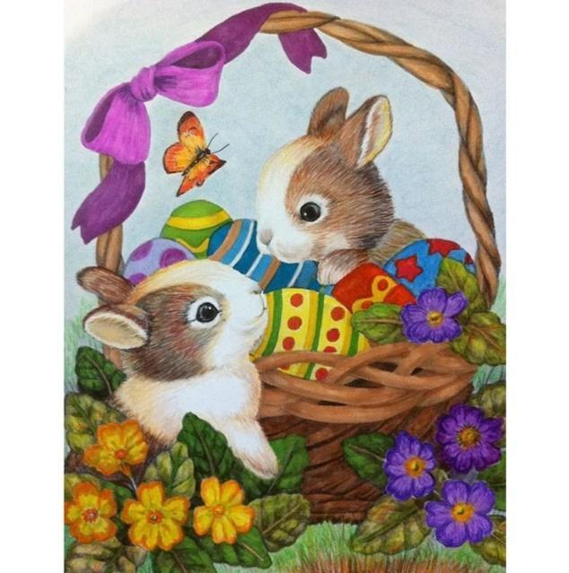 5D Diamond Painting Bunny Easter Basket Kit