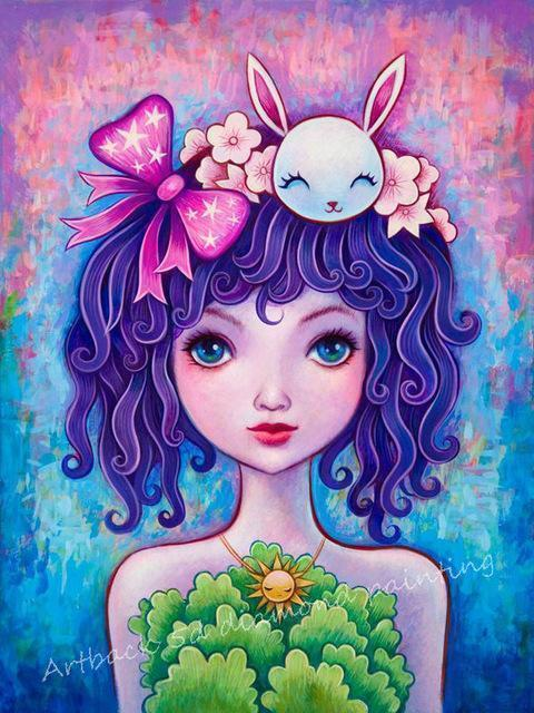 5D Diamond Painting Bunny Hair Girl Kit