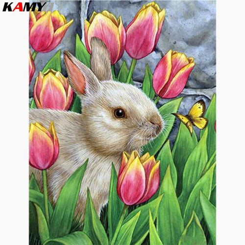 5D Diamond Painting Bunny in the Tulips Kit