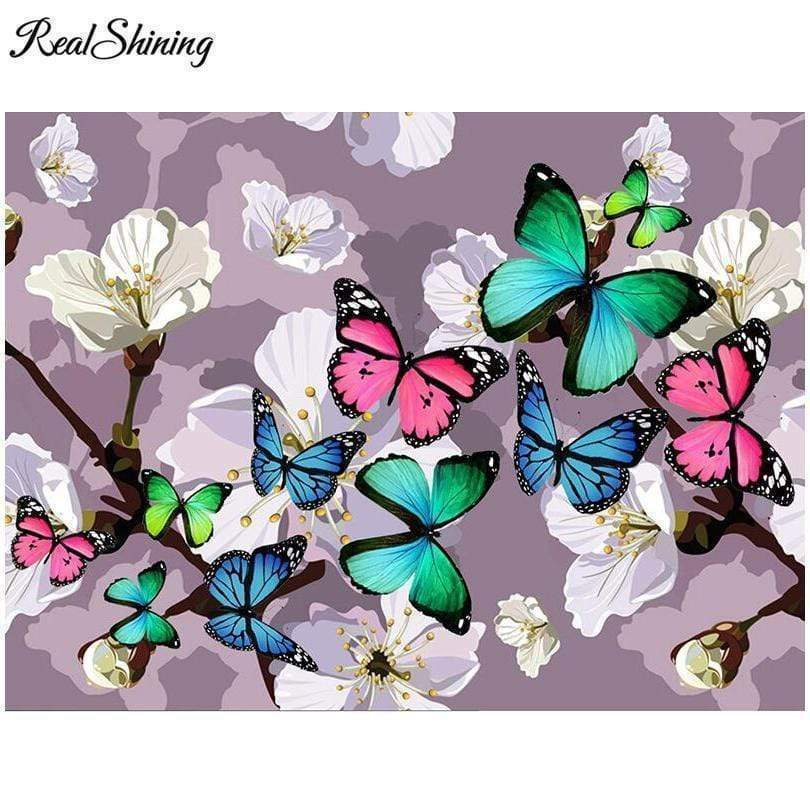 5D Diamond Painting Butterflies and White Flowers Kit