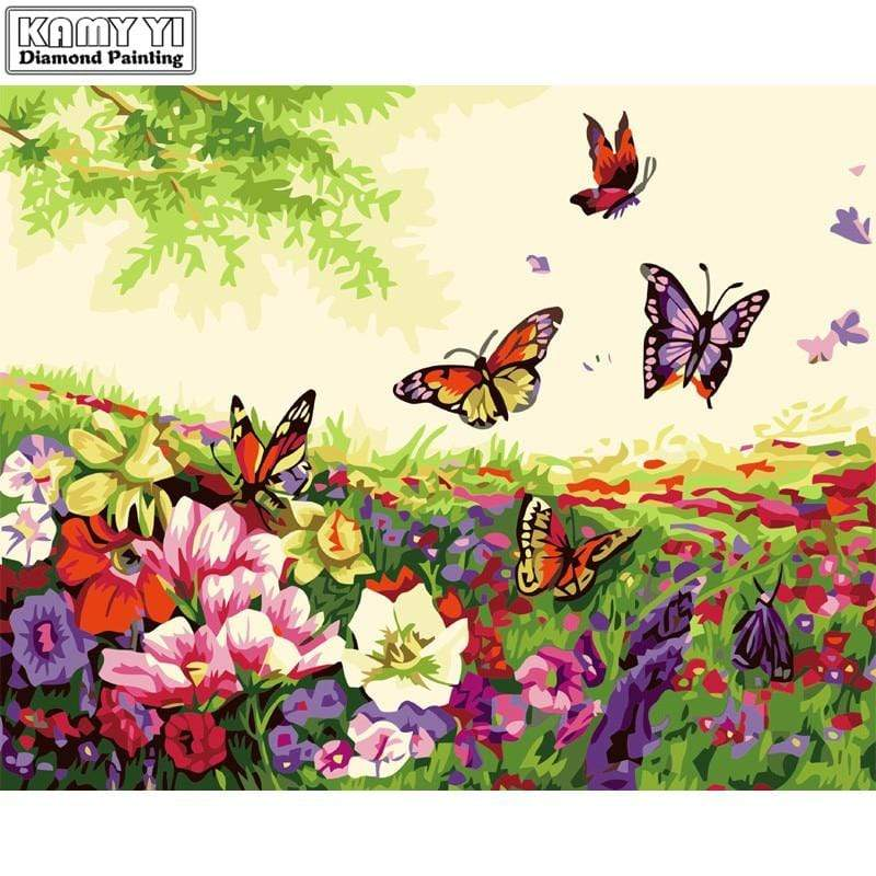 5D Diamond Painting Butterflies in the Garden Flowers Kit