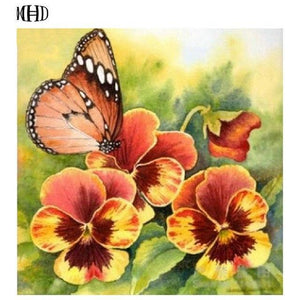 5D Diamond Painting Butterfly and Orange Flowers Kit