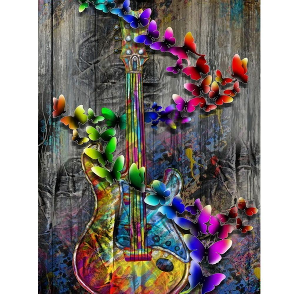 5D Diamond Painting Butterfly Guitar Kit