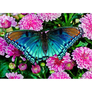 5D Diamond Painting Butterfly in Pink Flowers Kit