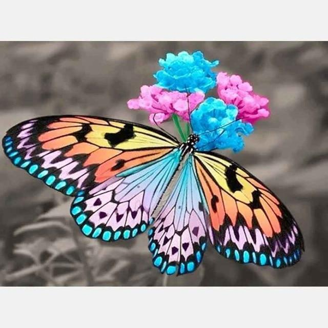 5D Diamond Painting Butterfly Pink and Blue Flowers Kit