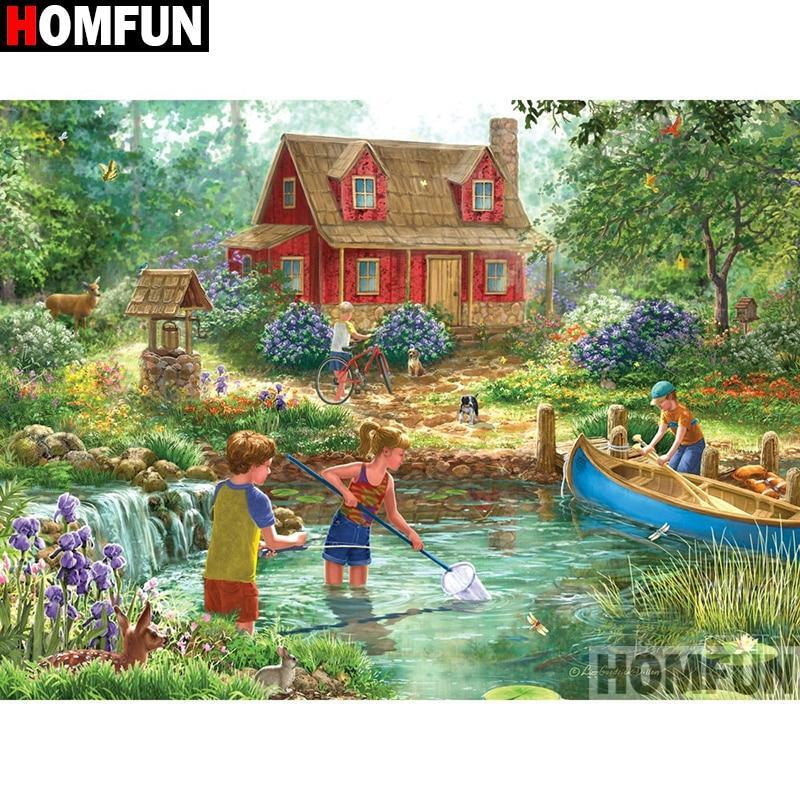 5D Diamond Painting Canoe and Fishing Kit