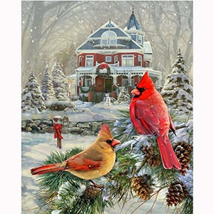 5D Diamond Painting Cardinals by the Christmas House Kit