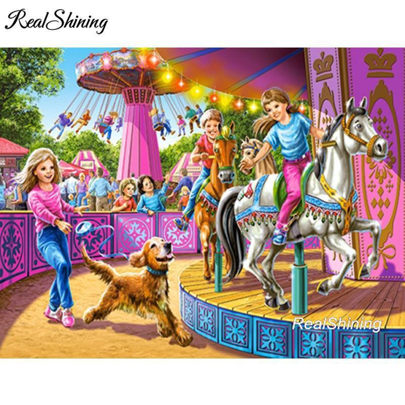 5D Diamond Painting Carousel Horses Kit