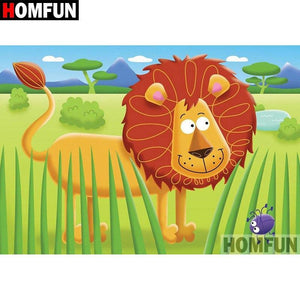 5D Diamond Painting Cartoon Lion Kit