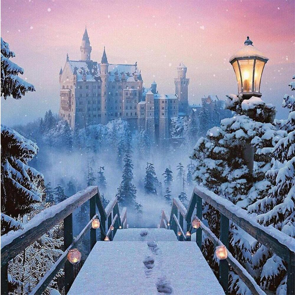 5D Diamond Painting Castle in the Snow Kit