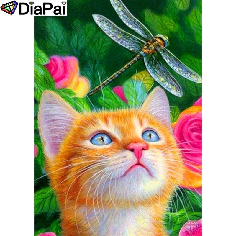 5D Diamond Painting Cat and a Dragonfly Kit