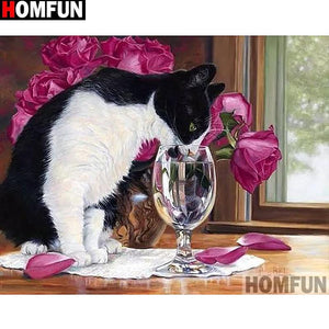 5D Diamond Painting Cat and the Water Glass Kit