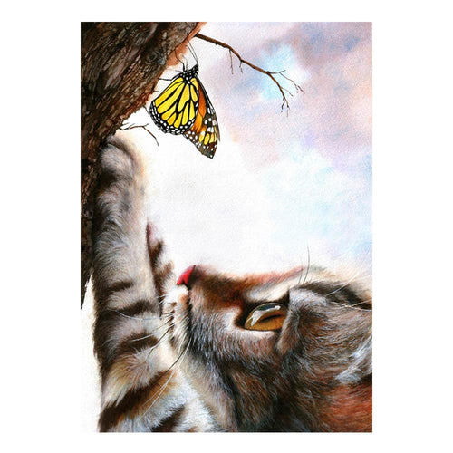 5D Diamond Painting Cat and the Yellow Butterfly Kit