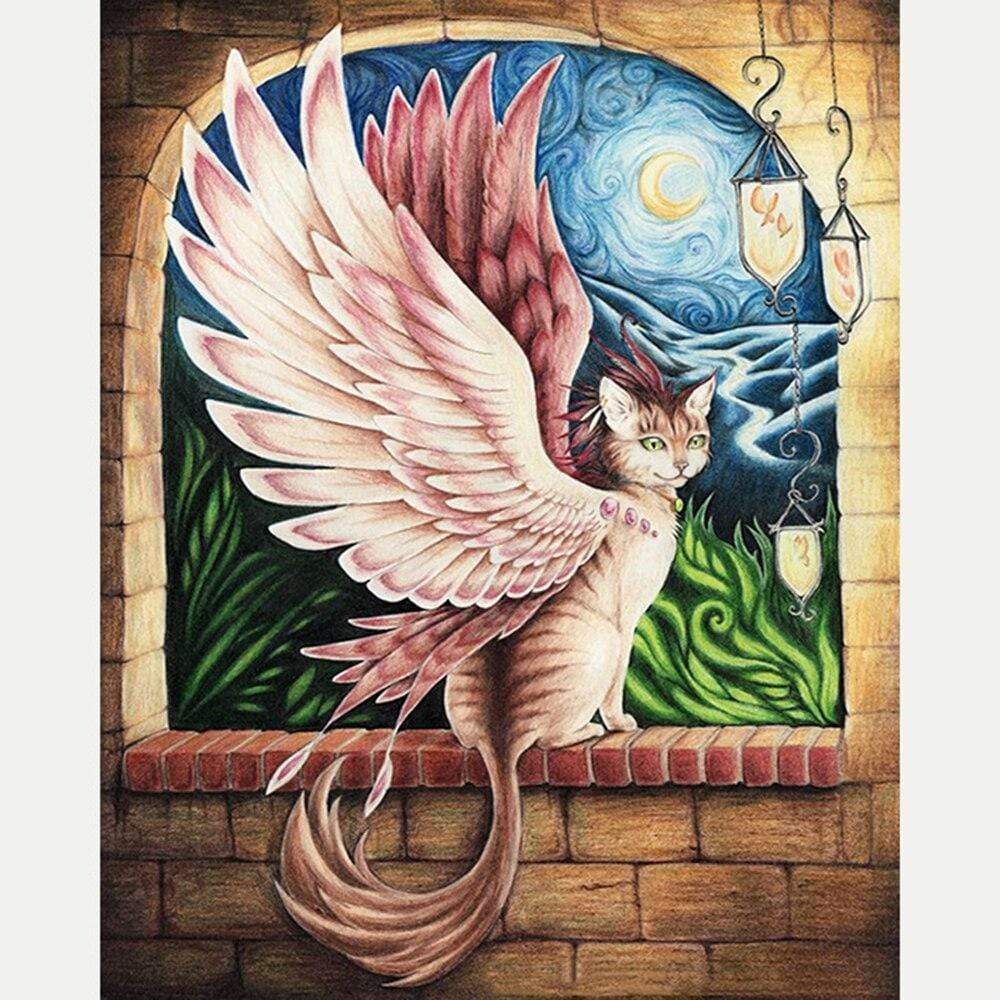 5D Diamond Painting Cat Angel Kit
