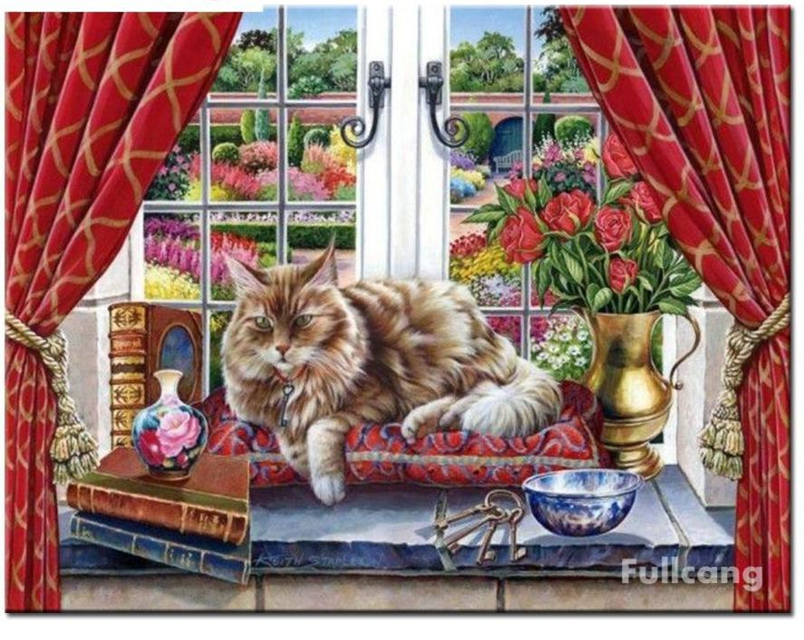5D Diamond Painting Cat by the Window Kit