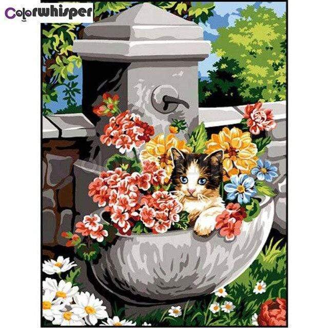 5D Diamond Painting Cat in the Flower Pot Kit