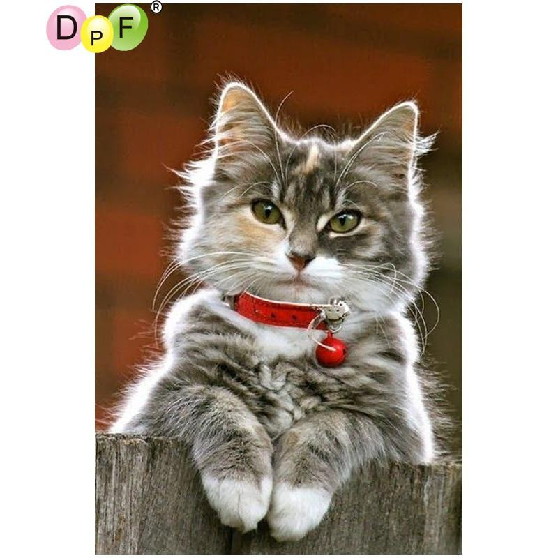5D Diamond Painting Cat with a Red Bell Collar Kit