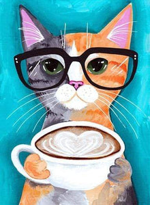 5D Diamond Painting Cat with Glasses and Coffee Kit