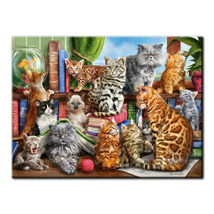 5D Diamond Painting Cats and a Fish Kit