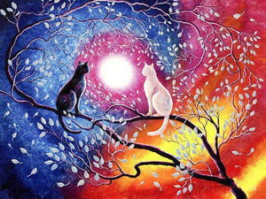 5D Diamond Painting Cats and the Moon Kit
