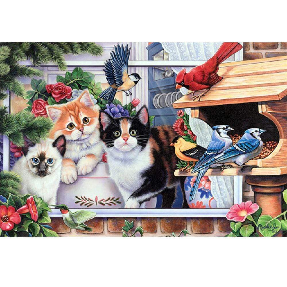 5D Diamond Painting Cats by the Bird Feeder Kit